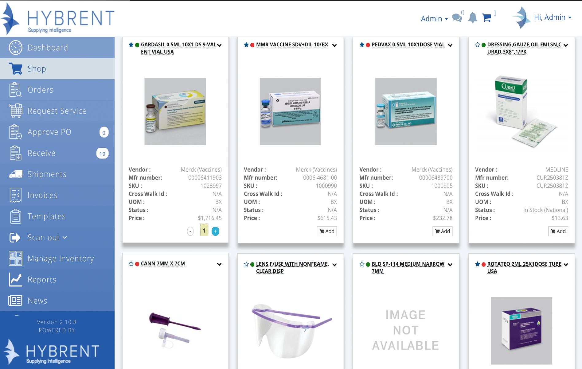 Hybrent purchasing software provides images on ordering screen